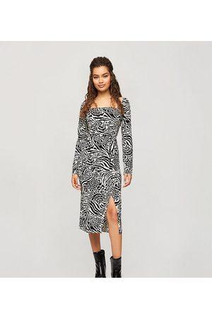 Miss Selfridge Petite Midi dress in animal print-Brown