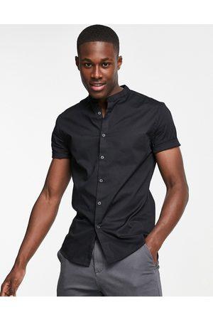 ASOS Skinny fit shirt with grandad collar in black