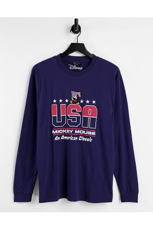 ASOS Long sleeve t-shirt with Mickey US print in navy