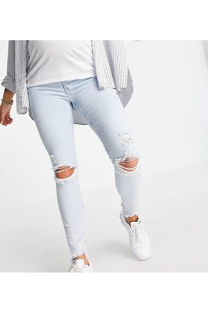 River Island Damen Skinny - Molly overbump ripped knee bleached skinny jeans in light auth blue