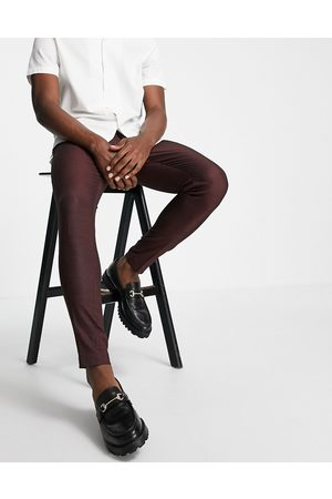 ASOS Herren Chinos - Skinny smart trouser in burgundy pin dot-Red