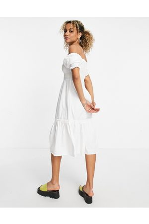 VIOLET ROMANCE Midi dress with coloured stitching in white