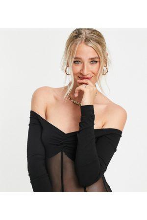 ASOS Damen Bodys - ASOS DESIGN Tall off shoulder bodysuit with mesh panels in black