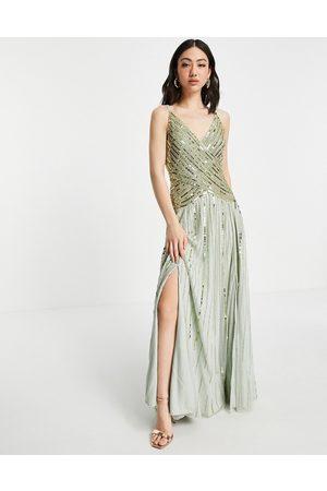 ASOS DESIGN Damen Lange Kleider - Linear embellished maxi dress with sheer skirt in multi