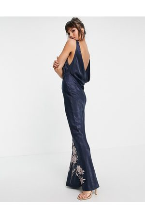 ASOS DESIGN Satin midi dress with floral embroidery and cowl back-Navy