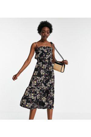 Vero Moda Tall Cami midi dress in black ditsy floral-Multi