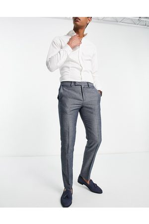 Twisted Tailor Suit trousers with micro geo jaquard in blue and white