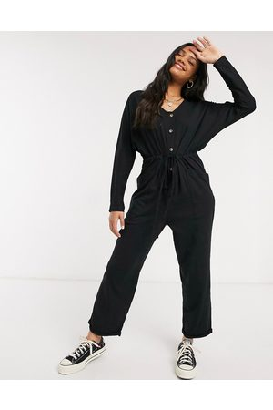 ASOS Lounge jersey button front long sleeve tie waist jumpsuit in