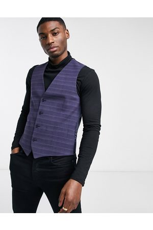 French Connection Slim fit marine check suit waistcoat-Navy