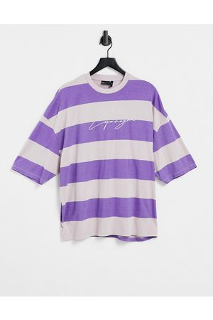 ASOS Oversized organic short sleeve stripe t-shirt in washed purple with script print