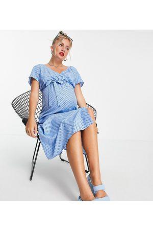 Mama.licious Mamalicious Maternity midi wrap dress in blue polka dot-Multi