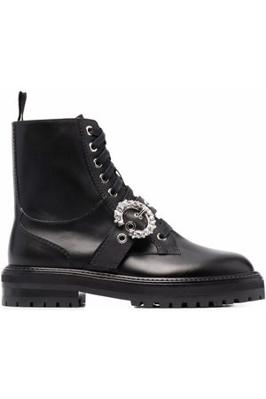 Jimmy Choo Crystal-embellished buckle ankle boots