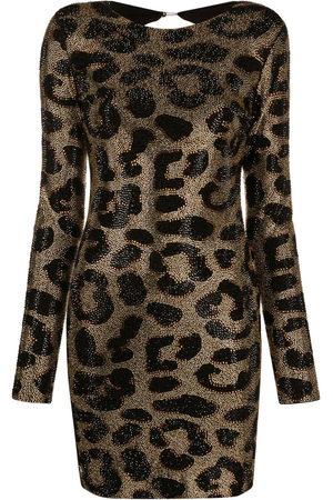 Philipp Plein Leopard-print studded dress