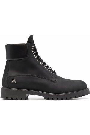 Philipp Plein Herren Stiefel - Nabuk lace-up leather boots