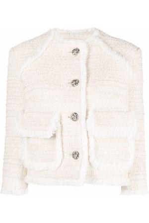 Philipp Plein Embroidered bouclé cropped blazer
