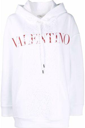 VALENTINO Logo-print lace-panel hoodie