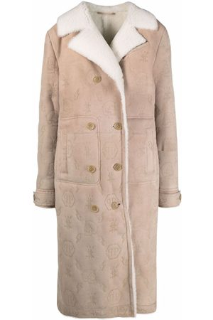 Philipp Plein Monogram-embossed long shearling coat