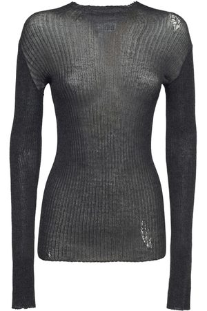 MAISON MARGIELA Damen Shirts - Pullover Aus Wollstrickripp