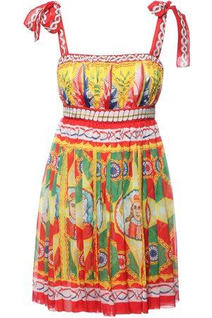 Dolce & Gabbana Minikleid Aus Seidenchiffon Mit Carrettodruck