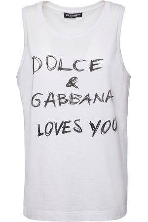 Dolce & Gabbana Baumwollpopeline-oberteil Mit Druck