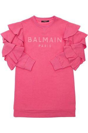 Balmain Kleid Aus Bio-baumwollfleece Mit Rüschen