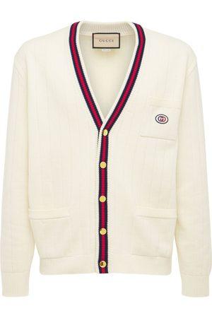 GUCCI Herren Shirts - Cardigan Aus Baumwollstrick Mit Webausschnitt