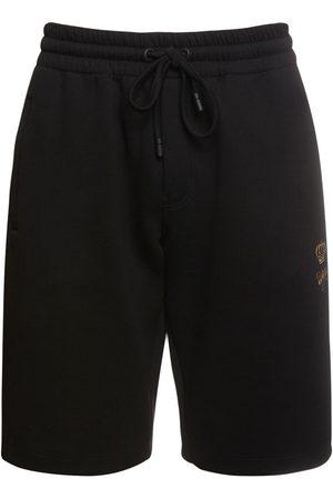 Dolce & Gabbana Herren Shorts - Shorts Aus Baumwolle Mit Bienen- & Kronenstickerei