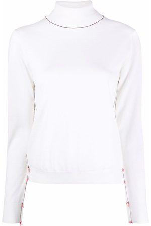 Maison Margiela Damen Strickpullover - Contrast-stitch high-neck jumper