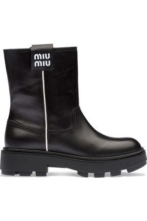 Miu Miu Damen Stiefeletten - Logo-patch ankle boots