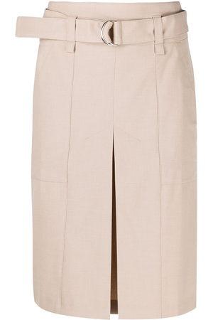 12 STOREEZ Damen Midiröcke - Belted knee-length skirt