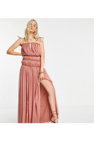 ASOS Tall Damen Lange Kleider - ASOS DESIGN Tall strappy maxi dress with ruched channel detail and tie straps in rose-Pink
