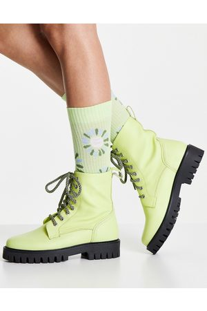 ASRA Billie leather lace up chunky flat boots in yellow leather