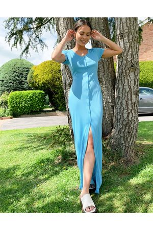 Another Reason Button front round neck maxi dress-Blue