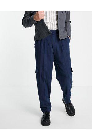 ASOS High waist slim cargo smart trouser in navy stripe
