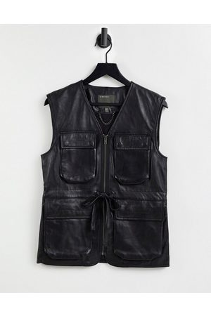 Muubaa Pocket front utility leather gilet in black