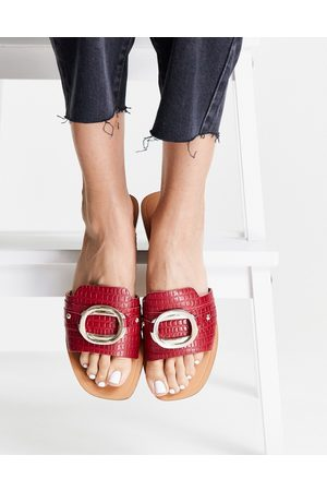 ASOS Formal leather sandals with trim in red