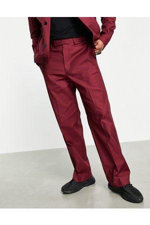 ASOS DESIGN Herren Jeansjacken - Smart trucker jacket co-ord in burgundy-Red
