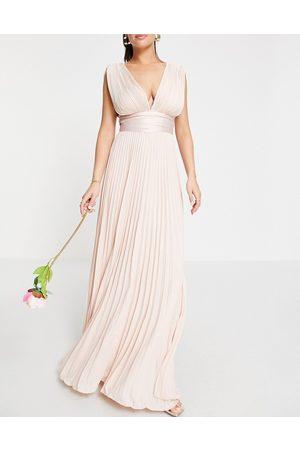 ASOS Bridesmaid pleated cami maxi dress with satin wrap waist-Pink