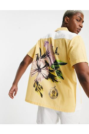 ASOS Relaxed revere shirt with patchwork back placement floral-Yellow