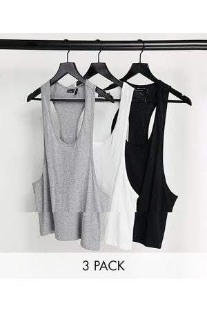 ASOS Organic vest with extreme racer back 3 pack multipack saving