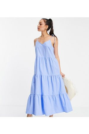Pieces Tiered cami midi dress in blue