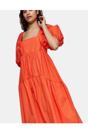 Topshop Tiered poplin midi smock dress in orange-White