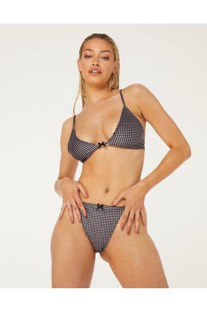 New Girl Order Triangle bikini top in lilac checkerboard-Purple