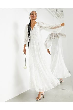 ASOS Natalia embroidered dobby maxi wedding dress-White