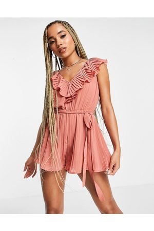 rare London pleated playsuit with ruffle detail in pink