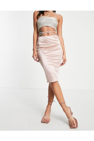 Flounce London Satin midi skirt with strap details in mink-Pink