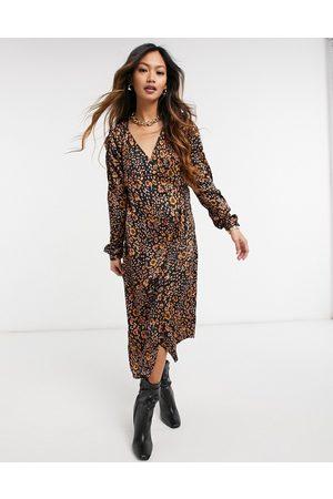 Vero Moda Ruched sleeve midi wrap dress in animal print-Multi