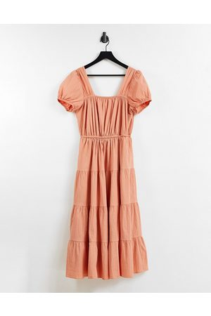 & OTHER STORIES Other Stories organic cotton tiered smock midi dress with open back in