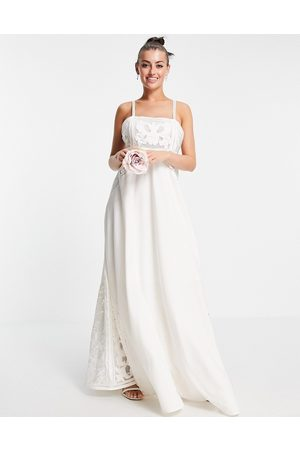ASOS Layla cami wedding dress with applique embroidery-White