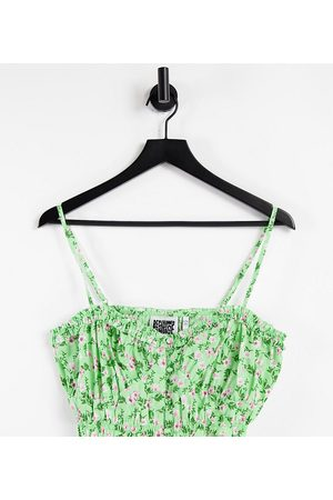 Reclaimed Inspired bralet with ruching in summer floral co-ord-Green